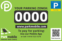 City of Sacramento Parkmobile green decal