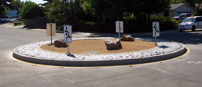 A roundabout on a residential street